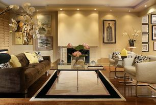Contemporary Living Room with Paint 1, Fireplace, can lights, Hardwood floors, Standard height, Sabre Side Table