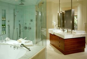 Contemporary Master Bathroom with can lights, Carpet, Rain shower, Farmhouse sink, Complex marble counters, Bathtub, Casement