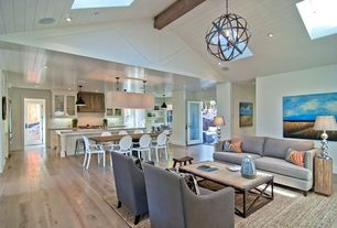 Contemporary Great Room with Built-in bookshelf, Cost plus world market metal orb chandelier, French doors, Pendant light