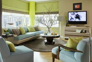 Contemporary Living Room with Roman shades, Hollis accent chair - custom fabric, Slipper chair, Columns, Laminate floors