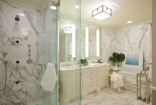 Contemporary Master Bathroom with Wall sconce, frameless showerdoor, Master bathroom, Handheld showerhead, Double sink, Flush