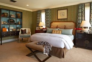 Contemporary Master Bedroom with Kayla Cream and Walnut Traditional X-Leg Bench Ottoman, Upholstered headboard, Crown molding