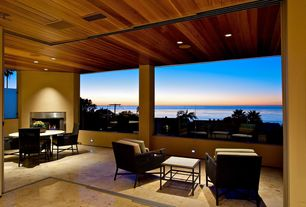 Contemporary Porch with exterior stone floors, Screened porch