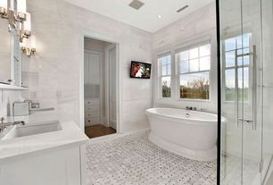 "Contemporary Master Bathroom with Splashback Tile Oriental 6"" x 12"" Marble Floor and Wall Tile, Freestanding bathtub"