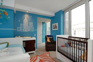 Contemporary Kids Bedroom with Land of Nod Star Bright Wall Decals (White), Baseboard molding, Steel window, Carpet