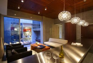 Contemporary Great Room with High ceiling, Caboche Chandelier, travertine floors, Pendant light