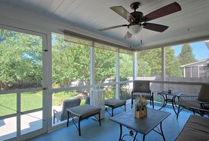 Contemporary Porch with Fence, Screened porch, French doors, Safavieh watson 4 piece seating group in black with cushions