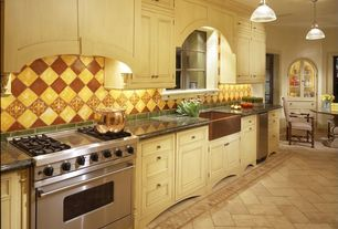 Traditional Kitchen with One-wall, Farmhouse sink, limestone tile floors, Simple granite counters, Large Ceramic Tile