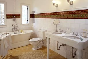 Eclectic Full Bathroom with tiled wall showerbath, ceramic tile floors, Victorian pedestal double sink console, Console sink