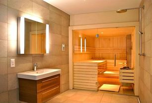 Contemporary Master Bathroom with Mirrored door medicine cabinet with integral lighting, Frameless glass sauna door, Sauna