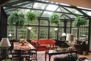 Traditional Porch with Greenhouse, Dining table, Couristan kashimar oriental rug, Hammary Chow Sofa Table - Rubbed Black