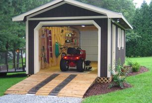 Country Garage with Built-in bookshelf, Concrete floors
