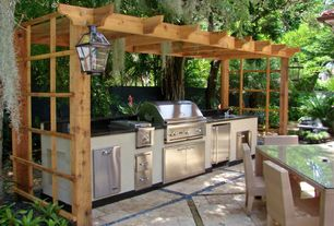 Tropical Patio with Outdoor kitchen, Gazebo, Wood pergola