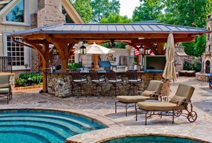 Rustic Patio with Outdoor kitchen, Pool with hot tub, Garden treasures round beige patio umbrella with tilt-and-crank, Gazebo