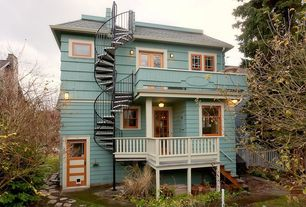 Craftsman Deck with Pathway, Outdoor kitchen, Spiral staircase, French doors, Fence, Glass panel door