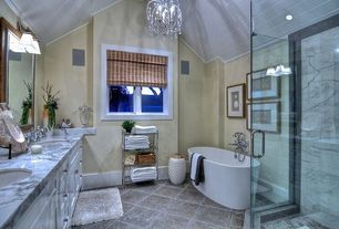 Traditional Master Bathroom with Safavieh Stella Nail Head Garden Stool, Wood panel ceiling, simple granite tile floors