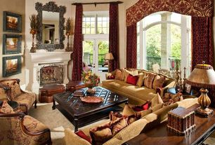 Mediterranean Living Room with Transom window, Carpet, picture window, High ceiling, Fireplace, French doors, stone fireplace