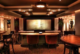 Traditional Home Theater with Pub table - wood, Bar stool - wood, Chair - accent - barrel - velvet