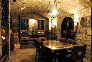 Mediterranean Wine Cellar with Designer Series 60-Bottle 6-Column Half Height Wine Rack - Dark Walnut Stain