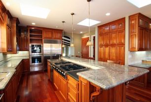 Traditional Kitchen with Built-in bookshelf, Skylight, Ekena millwork unfinished wood maple devon traditional wood corbel