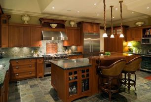 Traditional Kitchen with Pendant light, Kitchen island, Wine refrigerator, Breakfast bar, Slate, Glass panel, Undermount sink