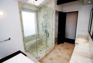 Contemporary Master Bathroom with Handheld showerhead, frameless showerdoor, Complex marble counters, Complex Marble
