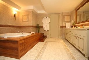 Modern Master Bathroom with Standard height, Undermount sink, flat door, partial backsplash, drop in bathtub, Bathtub