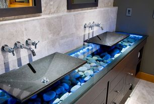 Contemporary Powder Room with Riobel pallace series falling water wall mounted faucet, River Rock Under Glass Vanity