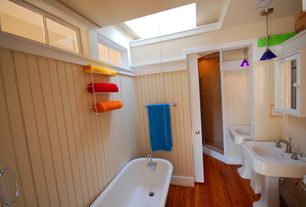 Cottage Full Bathroom with Tech lighting pyramid freejack mini, Hardwood floors, Master bathroom, Skylight, Pendant light