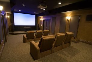 Traditional Home Theater with Carpet, French doors, Wall sconce, High ceiling, Home theater seating, Fabric acoustical panels