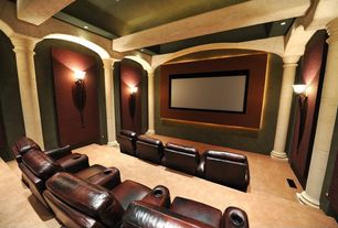 Modern Home Theater with Wall sconce, Exposed beam, Carpet, Columns, Ht market palliser elite home theater seating
