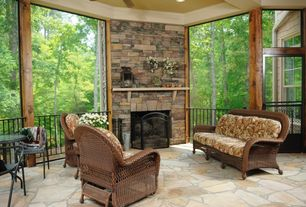 Country Porch with Screened porch, picture window, exterior stone floors, French doors, Deck Railing
