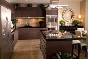 Contemporary Kitchen with Marazzi terra bengal slate 12 in. x 6 in. porcelain floor and wall tile, Concrete tile , can lights