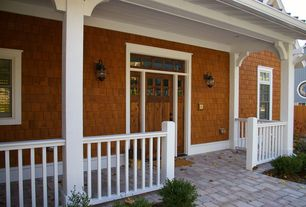 Cottage Front Door with Concrete pavers, Trans Globe Lighting Black Modern Single Light Small Outdoor Wall Sconce, Fence