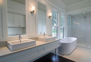 Contemporary Master Bathroom with Wall sconce, Vinyl floors, Master bathroom, Simple Granite, Flat panel cabinets, Flush