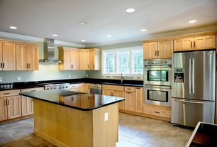 Traditional Kitchen with Simple Granite, Simple granite counters, Undermount sink, Flat panel cabinets, Kitchen island