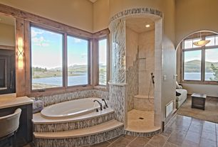 Rustic Master Bathroom with Ms international - ivory 4 in. x 4 in. honed travertine floor and wall tile, Master bathroom