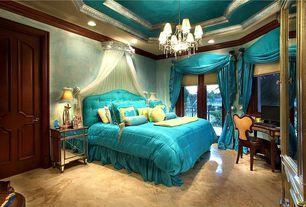 Eclectic Master Bedroom with Marble floor tile, travertine tile floors, interior wallpaper, Glass panel door, can lights