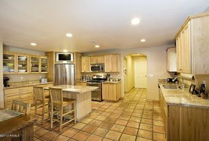 Craftsman Kitchen with Flush, Flat panel cabinets, Complex granite counters, U-shaped, Glass panel, Complex Granite