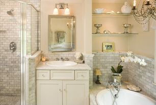 Traditional Master Bathroom with Flat panel cabinets, Master bathroom, Norwell lighting birmingham chrome bathroom light