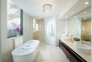 Contemporary Master Bathroom with Bathtub, European Cabinets, Double sink, frameless showerdoor, Freestanding, Simple Marble