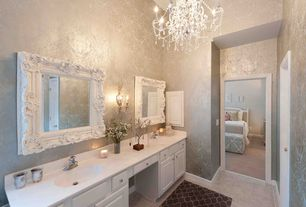 Traditional Master Bathroom with Fabrics & papers nina campbell khitan wallpaper, Majestic Mirror Traditional Beveled Mirror