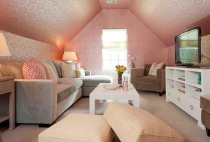 Contemporary Family Room with Carpet, interior wallpaper, Casement, Standard height