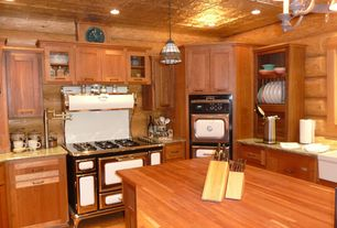 Country Kitchen with Old fashioned stove, Tin ceiling tiles