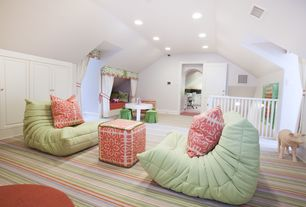 Contemporary Playroom with Striped carpet, Built in wall storage, Coral color pillow, Two panel doors, Loft, Built in bed