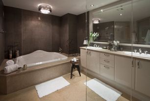 "Contemporary Master Bathroom with Daltile continental slate 18"" x 18"" field tile in asian black, flat door, Cubed sculpture"