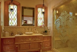 Traditional 3/4 Bathroom with Arched window, High ceiling, Ceramic Tile, Flat panel cabinets, Custom Etched Shower Doors