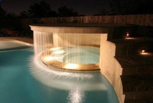 Contemporary Hot Tub with Recessed lighting, Poured concrete, MS International Aegean Pearl Pool Coping