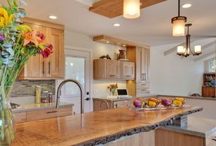Craftsman Kitchen with Simple granite counters, Hendrik Bronze Mini Pendant Chandelier, Glass Tile, Kitchen island, Flush