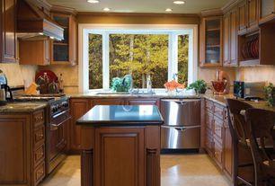 Traditional Kitchen with can lights, Glass panel, Undermount sink, full backsplash, Limestone Tile, Raised panel, Custom hood